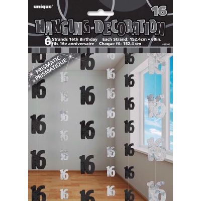 Black Glitz 16th Hanging Decoration