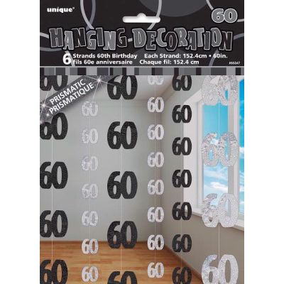 Black Glitz 60th Hanging Decoration