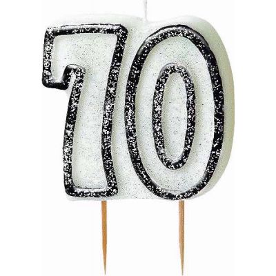Black Glitz 70th Birthday Candle