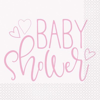 Pink Baby Shower 33cm Napkins (packquantity16)
