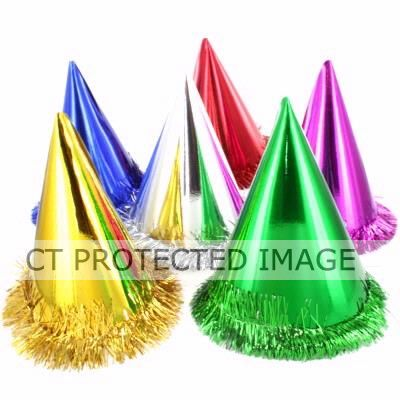 Fringed Foil Hats Assorted (pack quantity 6)