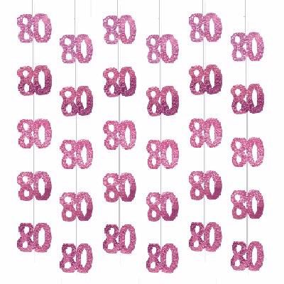Pink Glitz  80th Hanging Decs (packquantity6)