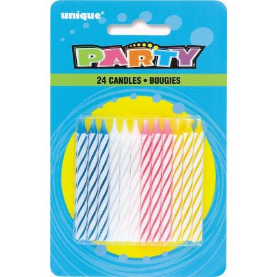 Multicolour Spiral Birthday Candles (pack quantity 24)
