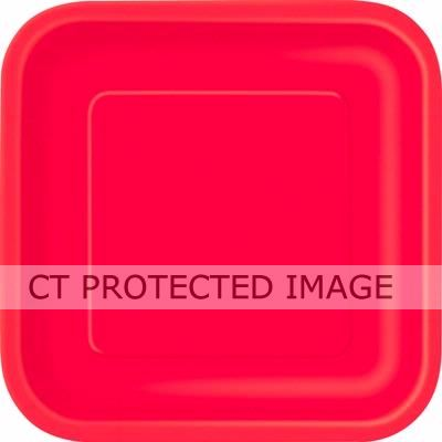Ruby Red 9 Inch Square Plates (pack quantity 14)