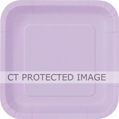 9 Inch Lavendar Square Plates (packquantity14)