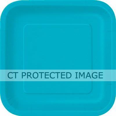 9 Inch Caribbean Teal Sq Plates (packquantity14)