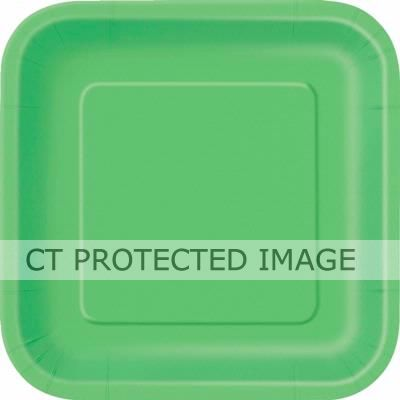 9 Inch Lime Green Square Plates (pack quantity 14)