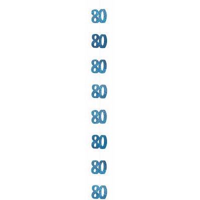 5ft Blue Glitz 80th Hanging Decs (packquantity6)