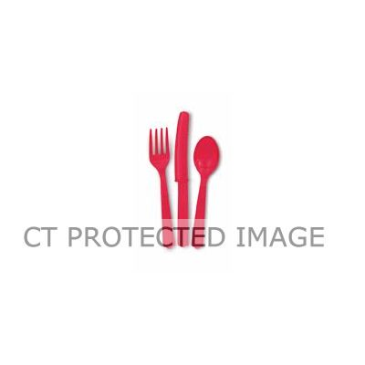 Assorted Ruby Red Cutlery (pack quantity 18)