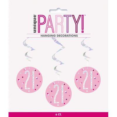 Glitz Pink 21st Birthday Swirls (packquantity6)