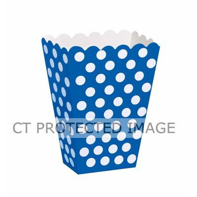 Royal Blue Dots Treat Boxes (pack quantity 8)