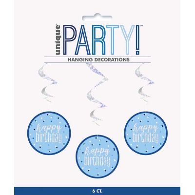 32 Inch Glitz Blue Happy Birthday Swirls (packquantity6)