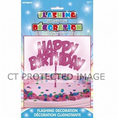 Happy Birthday Flashing Pink Cake Dec