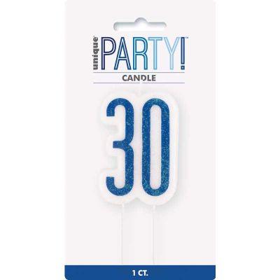 Glitz Blue 30 Numeral Candle