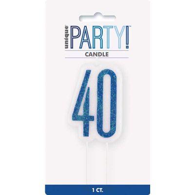 Glitz Blue 40 Numeral Candle