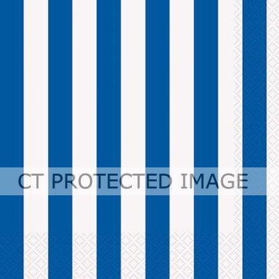 33cm Blue Stripes 33cm Napkins (packquantity16)