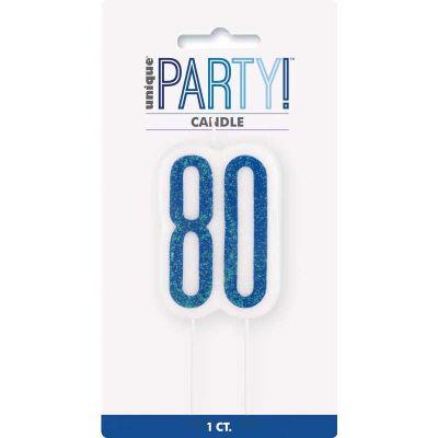 Glitz Blue 80 Numeral Candle