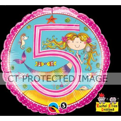 18 Inch Age 5 Mermaid Polka Dots Foil