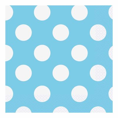 Powder Blue Dots 33cm Napkins (packquantity16)