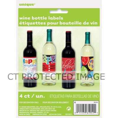 Celebration Birthday Wine Bottle Labels (pack quantity 4)
