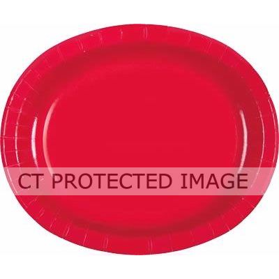 Ruby Red Oval Plates (pack quantity 8)