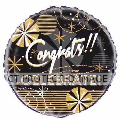 18 Inch Jazzy B/g Congratulations Foil Balloon