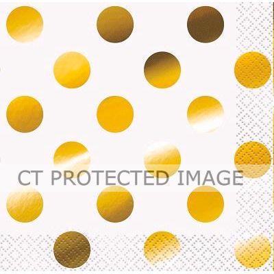 Gold Foil Dots Bev Napkins (packquantity16)