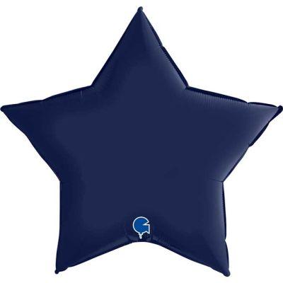 36 Inch Satin Navy Blue Star Foil Balloon