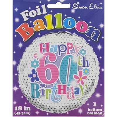 18 Inch 60th Female Foil Balloon