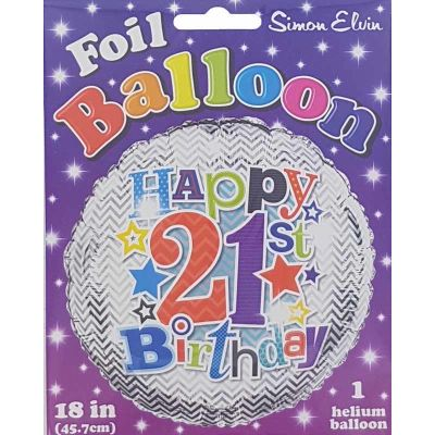 18 Inch 21st Birthday Foil Balloon