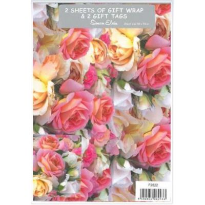 Pink Roses Folded Wrap & Tags