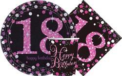 18th Birthday GoldSilver Sparkles Pink