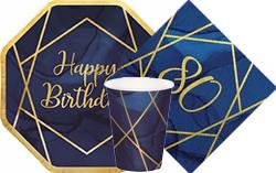 Navy & Gold Geode 80th Birthday
